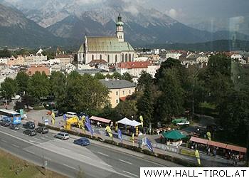 Ausblick auf das Veranstaltungsgelände und die Stadt Hall in Tirol